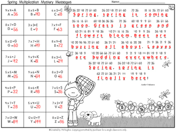 Multiplication Facts Math Mystery Messages - Spring Edition