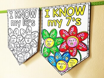 Multiplication Facts Times Tables Math Pennant Activity