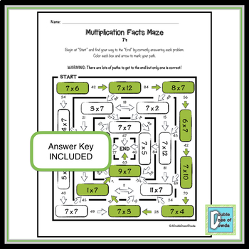 Multiplication Facts Maze 7's