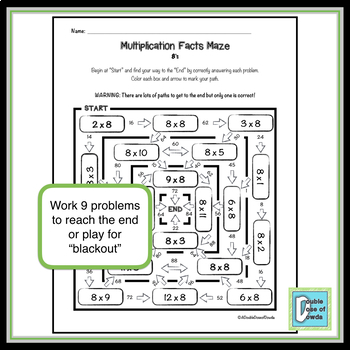 Multiplication Facts Maze 8's