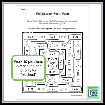 Multiplication Facts Maze 9's