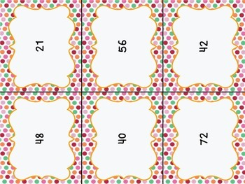 Multiplication Facts Memory Match Game