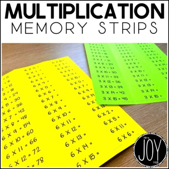 Multiplication Facts Memory Strips - Separated by Number Sets