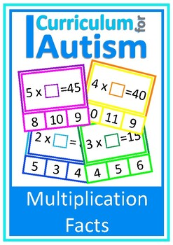 Multiplication Facts Missing Number Clip Cards, Autism, Special Education, Math