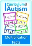 Multiplication Facts Missing Factors Autism