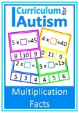 Multiplication Facts Missing Number Clip Cards, Autism, Sp
