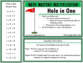 Multiplication Facts - One Printable Game