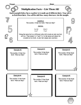 Multiplication Facts Package