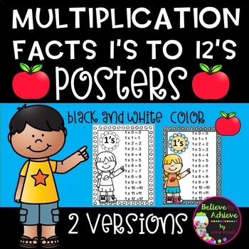 Multiplication Facts Posters 1's to 12's (Color and black and white )