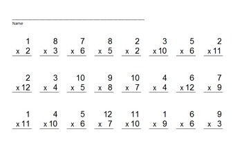 Multiplication Facts PowerPoint Quiz - Matching Worksheet & Key!