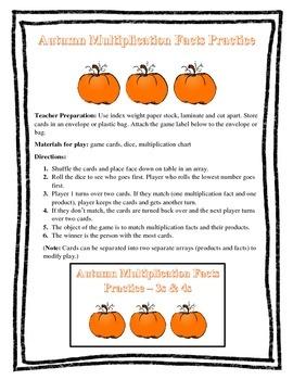 Multiplication Facts Practice - Autumn Theme 3s & 4s