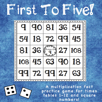 Multiplication Facts Practice Game: First To Five! (1s-12s