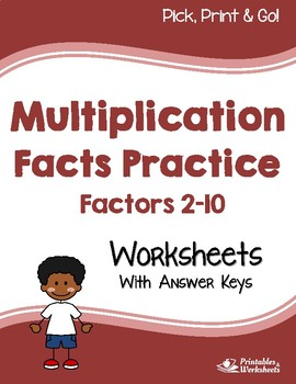 Multiplication Facts Practice, Multiplying by 2-10 Worksheets with Answer Keys
