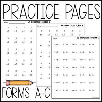 Multiplication Facts Set: Practice Pages, Assessments, and Recording Pages