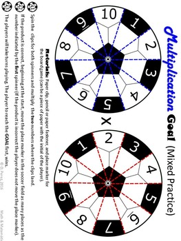 Multiplication Facts Practice Using Spinners with a Soccer Theme