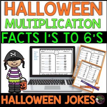 Multiplication Fact Practice 1's to 6's with  Halloween Jokes