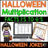 Multiplication Fact Practice 1's to 6's with  Halloween Jokes