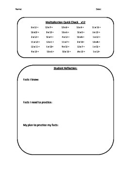 Multiplication Facts Quick Check
