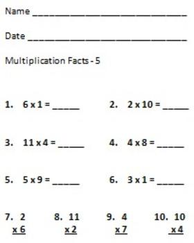 Multiplication Facts Quizzes 0-12, 8 Mini Quizzes
