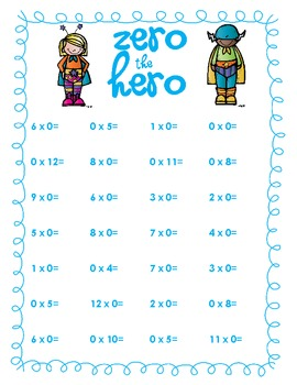 Multiplication Facts Review 0-12: Hero Set