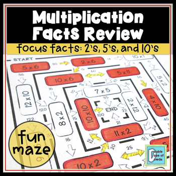 Multiplication Facts Review Maze 2s, 5s & 10s