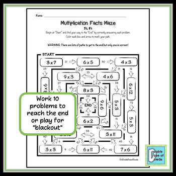 Multiplication Facts Review Maze 3s & 6s