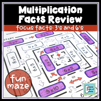 Multiplication Facts Review Worksheet 3s & 6s