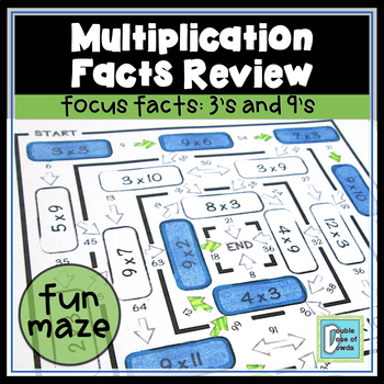 Multiplication Facts Review Maze 3s & 9s