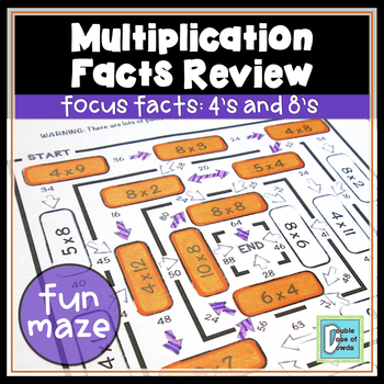 Multiplication Facts Review Worksheet 4s & 8s
