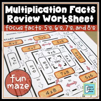 Multiplication Facts Review Maze 5s, 6s, 7s & 8s