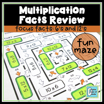 Multiplication Facts Review Worksheet 6s & 12s