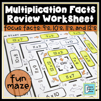 Multiplication Facts Review Maze 9s, 10s, 11s & 12s