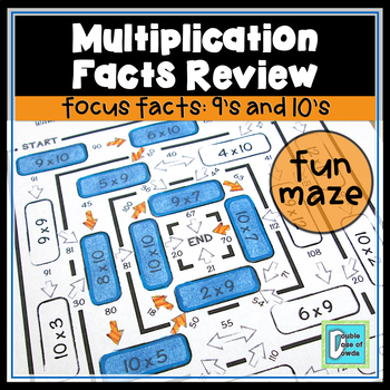 Multiplication Facts Review Maze 9s & 10s