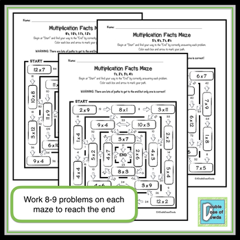 Multiplication Facts Review Worksheet BUNDLE (Groups of 4)