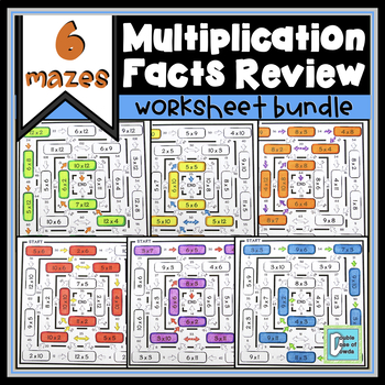Multiplication Facts Review Maze BUNDLE (Related Pairs)