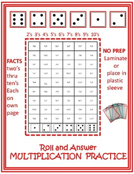 Multiplication Facts Roll and Practice