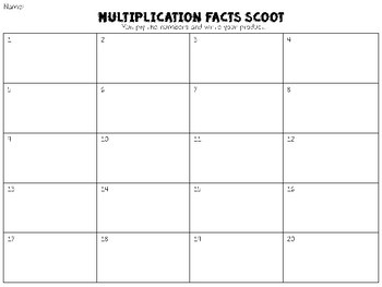 Multiplication Facts Scoot