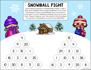 Winter Multiplication Facts Roll and Cover Game