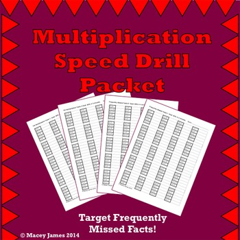 Multiplication Facts Speed Drill Packet