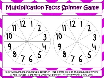 Multiplication Facts Spinner Game Freebie