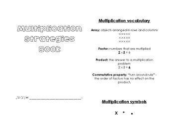 Multiplication Facts Strategies Book 0-10