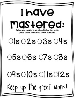 Multiplication Facts- Student and Teacher Trackers