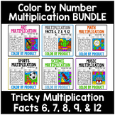 Color by Number Multiplication Coloring Worksheets Facts 6, 7, 8, 9, 12 BUNDLE