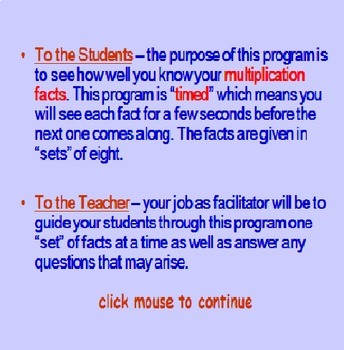 Multiplication Facts TIMED PowerPoint