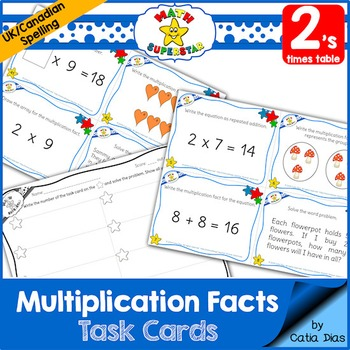 Multiplication Facts Task Cards - 2's times table - Canadian Spelling