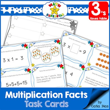Multiplication Facts Task Cards - 3's times table