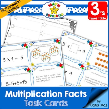 Multiplication Facts Task Cards - 3's times table - Canadian Spelling
