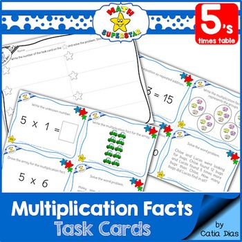 Multiplication Facts Task Cards - 5's times table