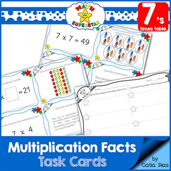 Multiplication Facts Task Cards - 7's times table