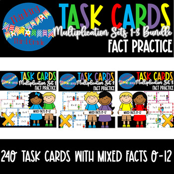 Multiplication Facts Task Cards BUNDLE 3 SETS 2nd 3rd 4th Grade SCOOT